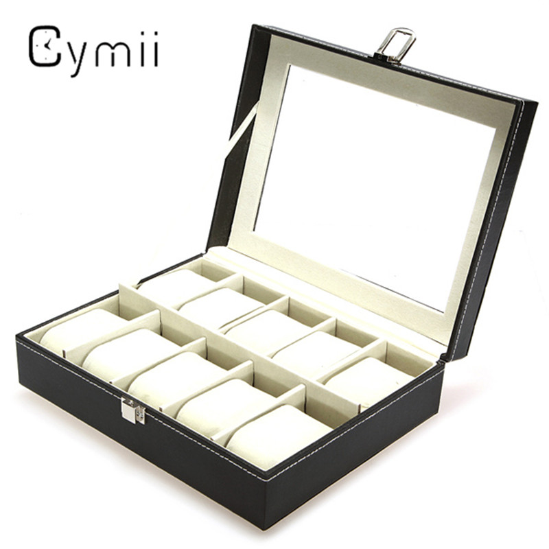 Cymii PU Leather 10 Slot Jewelry Storage Holder Wrist Watch Display Box Storage Holder Organizer Case Watch Box Gifts 2018 high quality pu leather 12 slots wrist watch display box storage holder organizer watch case jewelry dispay watch box