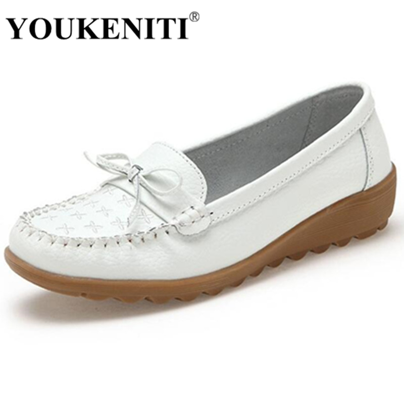 2017 Autumn White Shoes For Women Brand New Genuine Leather Bowtie Fashion Shoes With Flats Round Toe Slip On Loafers HXY663 2016 autumn fashion women full grain leather flat heel white shoes student bling round toe leather brand basic flats loafers
