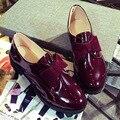 Боути Лакированной Кожи Оксфорд Обувь Для Женщин Плоские Туфли Британский Стиль Весна Лето Slip-on Круглым Носком Дамы Квартиры удобная
