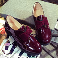 Bowtie Patent Leather Oxford Shoes For Women Flat Shoes British Style Spring Summer Slip-on Round Toe Ladies Flats Comfortable