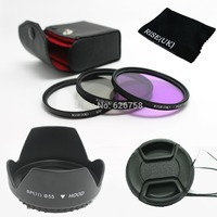 RISE UK 55mm UV CPL FLD Filter Set Petal Flower Lens Hood Front Lens Cap Cover