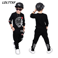 Skull Letters Kids Teenage Boys Pringted Clothing Sets Hip Hop Sports Suits Causal Tops Harem Pants