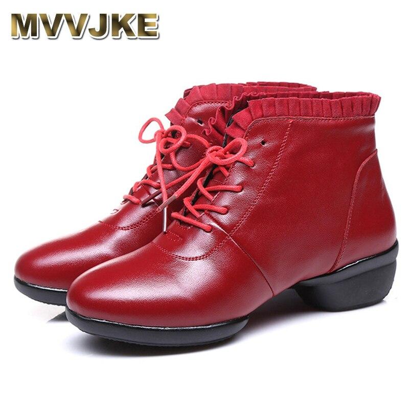 MVVJKE Folk Genuine Leather Dance Shoes 2018 Spring Breathable Women Low Heels Ankle Boots Female Retro