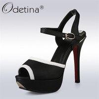 Odetina 2018 New Fashion Women Pumps Extreme High Heels 12 CM Platform Peep Toe Ankle Strap