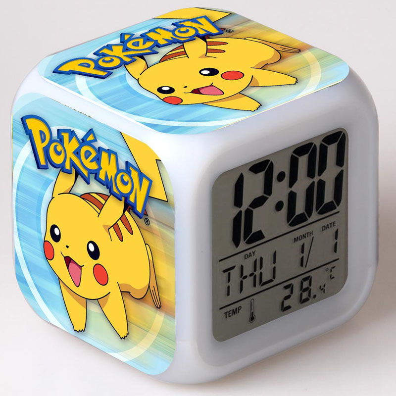Pokemon Digital LED Alarm Clock Kids Pocket Monsters Cute Cartoon 3D Stickers Multifunction Electronic Table Clock Gift for Kids(China)