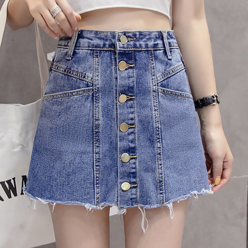 Summer Denim Shorts Skirts Women High Waist Short Jeans Feminino Korean Women Black Blue Shorts Female Hem Frayed Short Mujer