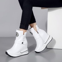 Fashion Increasing Shoes Women High Heels Ankle Boots For Women Autumn Winter Snow Boots Wedges Women shoes Cow leather 32 40