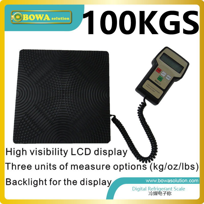 100Kgs capacity electronic refrigerant charging scale for auto airconditioning and marine AC 90kgs capacity digital refrigerant scale for hvac and refrigeration refrigerant charging scale