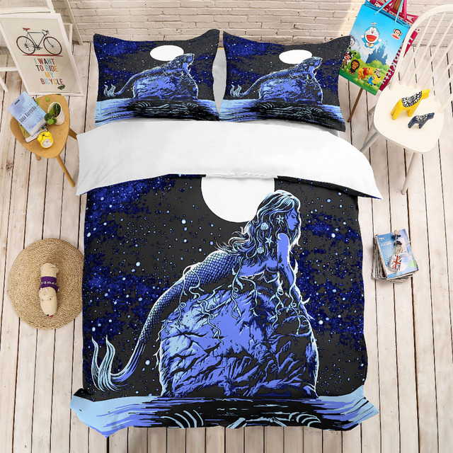 MUSOLEI 3D Duvet Cover Set Mermaid squatting on the sea stone in the moon .Soft Bed Bedding Set Twin Queen King Size