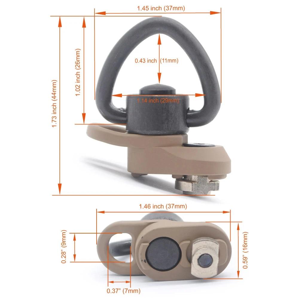 "Tactical Heavy-Duty Push Button QD Sling Swivel Stud With Heart Shape 1/"" Loop"