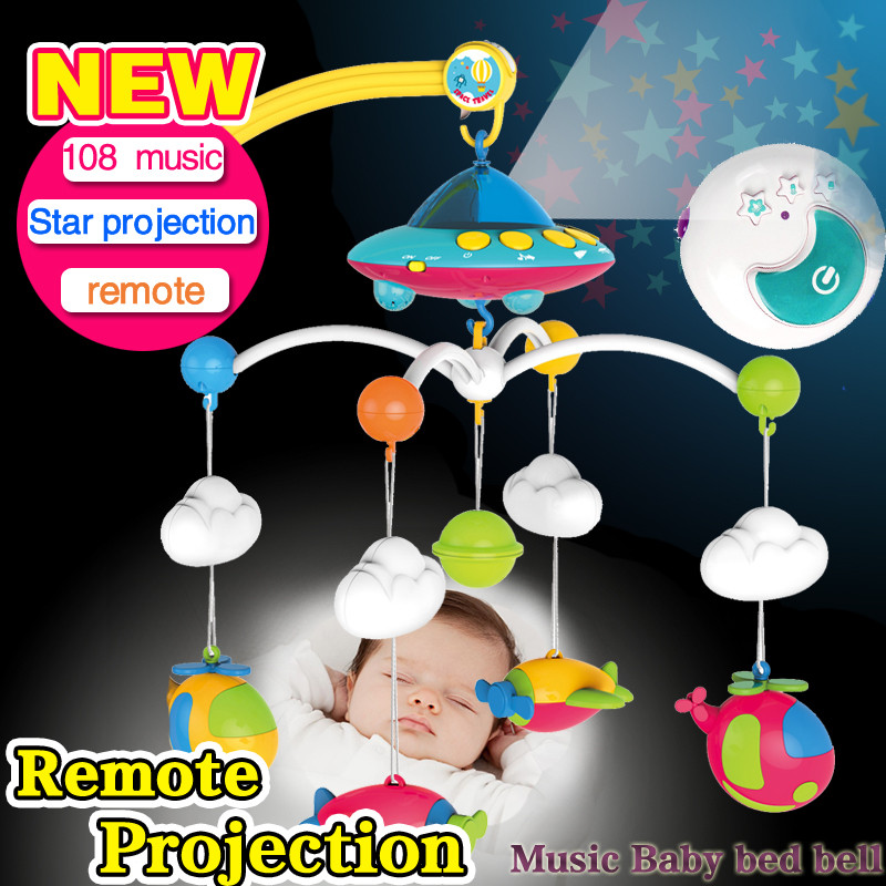 Baby bed bell newborn baby toy 3-6-12 months rotating rc music bed hanging baby rattle & Mobiles bracket set baby crib holder newborn baby bed rotary music bell toy baby stroller toy rattles accessories pendant