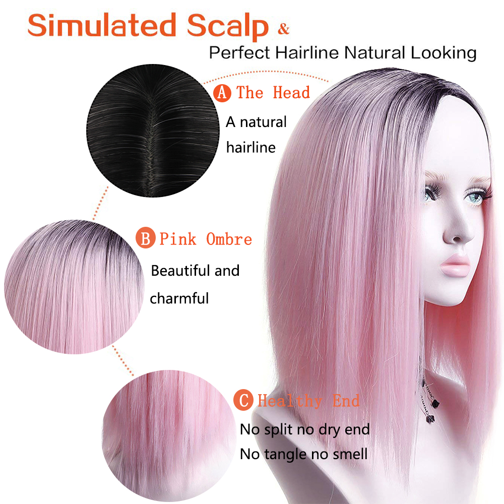 Pageup Ombre Bob Synthetic Wigs For Women African American Ladies High Temperature Fiber Heat Resistant Short Cosplay Pink Wig (7)