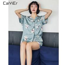 Conjuntos De Pijama De Seda Caiyier Bonito Elefante Impressão de Manga Curta Sleepwear Pijama de Verão 2019 Mulheres Coreanas Causal Homewear M 3XL