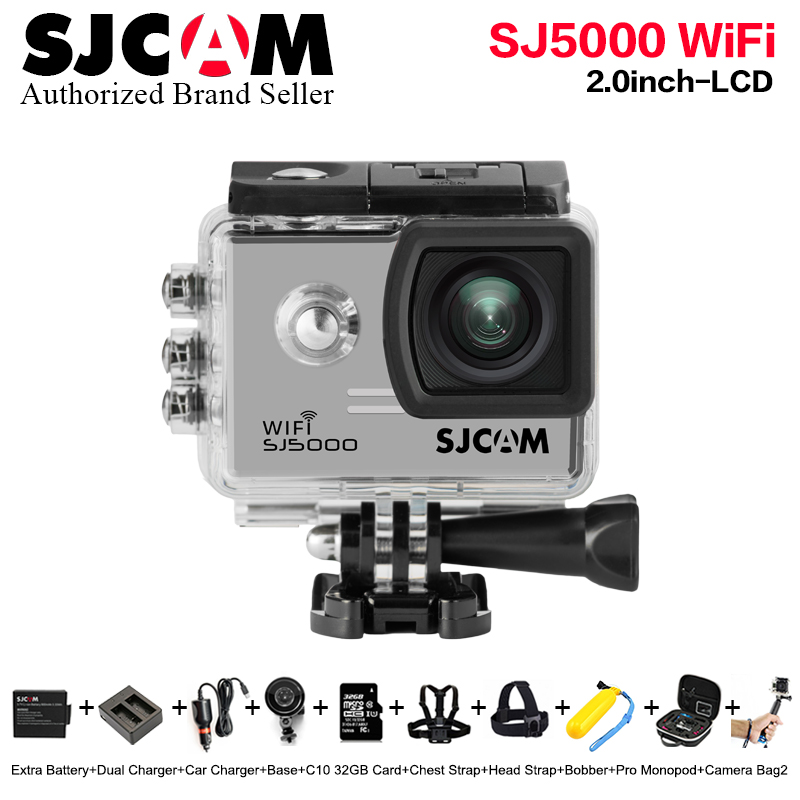 New Bundle Action Camera 100% Original SJCAM SJ5000 Wifi 30M extreme sport 2.0' Screen 1080p HD Better go waterproof pro cam wimius 20m wifi action camera 4k sport helmet cam full hd 1080p 60fps go waterproof 30m pro gyro stabilization av out fpv camera