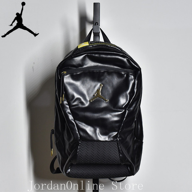 528c590cde6cac Jordan Retro Sport Bags Men and Women Bookbag PU Leather Climbing Laptop  Bag Sport-Backpack Bag Black Color Good quality