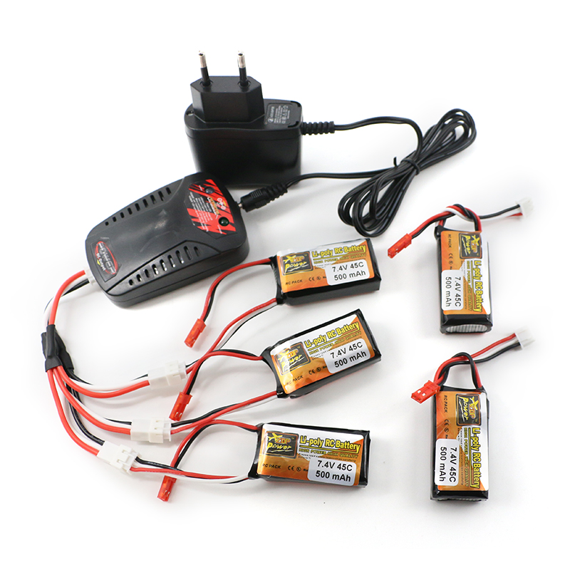 5pcs ZOP Power LiPo Battery 2S 7.4V 500mAh 45C and EU charger  For RC Quadcopter Drone Helicopter Car Airplane lipo battery 7 4v 2700mah 10c 5pcs batteies with cable for charger hubsan h501s h501c x4 rc quadcopter airplane drone spare