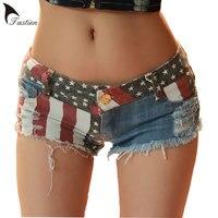 2018 Nieuwe Merk Vrouwen Denim Shorts Zomer Mini Shorts USA vlag Print Sexy Gat Vernietigd Jeans Korte Broek Feminino Grote Size