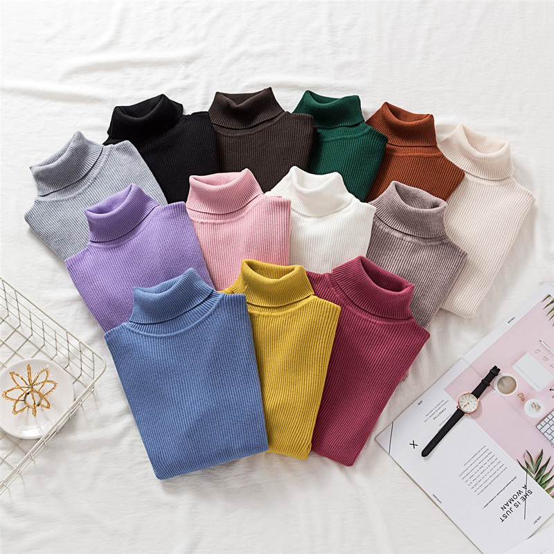 New Women/'s Ladies Ribbed Cotton Polo Turtle Neck Long Sleeve Fitted Jumper Tops