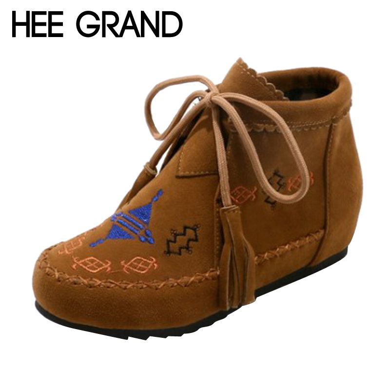 HEE GRAND 2017 Wedges Women Boots Platform Lace Up Shoes Woman Creepers Casual Fashion Snow Boots 3 Colors Size 35-43 XWX6406 hee grand inner increased winter ankle boots warm fringe fashion platform women snow boots shoes woman creepers 3 colors xwx6180