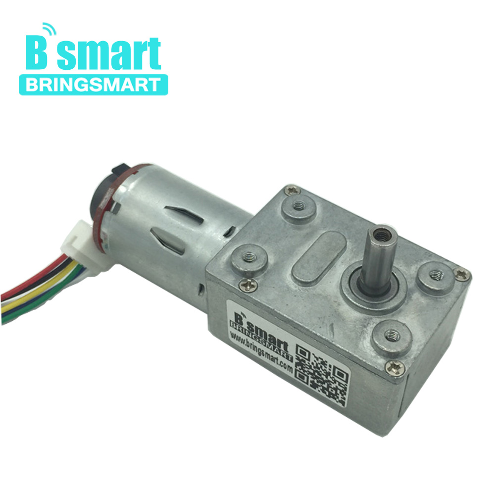 Bringsmart JGY-370B Worm Gear Motor DC High Torque 12V DC Motor Encoder Mini Reducer Gearbox with Hall Encoding Board for DIY цены онлайн