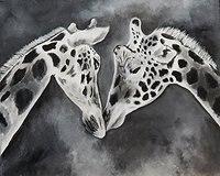 สัตว์ภาพที่ทำด้วยมือบทคัดย่อน่ารักยีราฟคู่ศิลปะภาพวาดสีน้ำมันบนผืนผ้าใบผนังศิลปะDecorForห้...