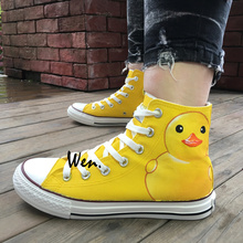 Wen Hand Painted Shoes Design Custom Cartoon Yellow Duck Woman Man's High Top Canvas Sneakers Birthday Gifts for Boys Girls