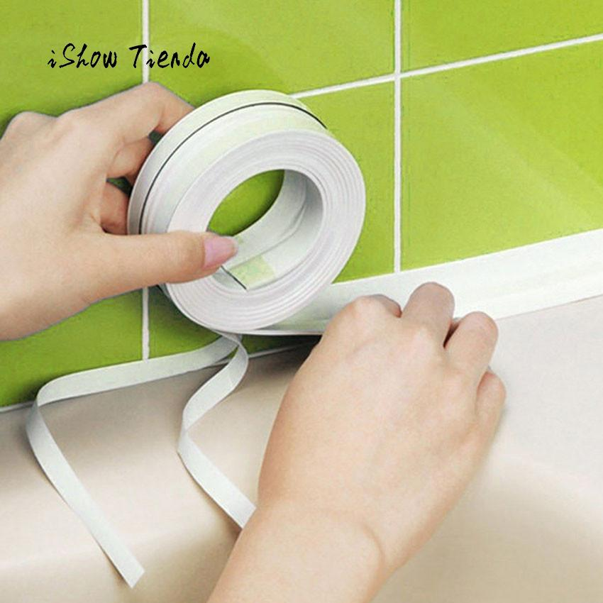 Home Kitchen Wall Sealing Tape Waterproof Mold Proof Adhesive Tape Kitchen Bathroom Shower Toilet Sealant Tape 3.2mx3.8cm