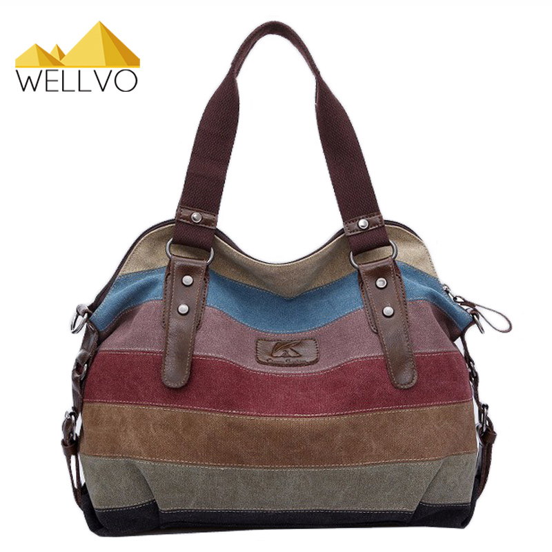 Women Canvas Handbag Striped Patchwork Shoulder Bag Famous Brand Handbags Large Tote Bag Messenger Crossbody Rainbow Bags XA274C weiju new canvas women handbag large capacity casual tote bag women men shoulder bag messenger crossbody bags sac a main