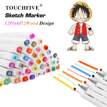 TOUCHFIVE 12 Colors Alcohol Based Art Markers Sketch Marker Set Dual Brush Pens Drawing Manga Art Supplier Markers
