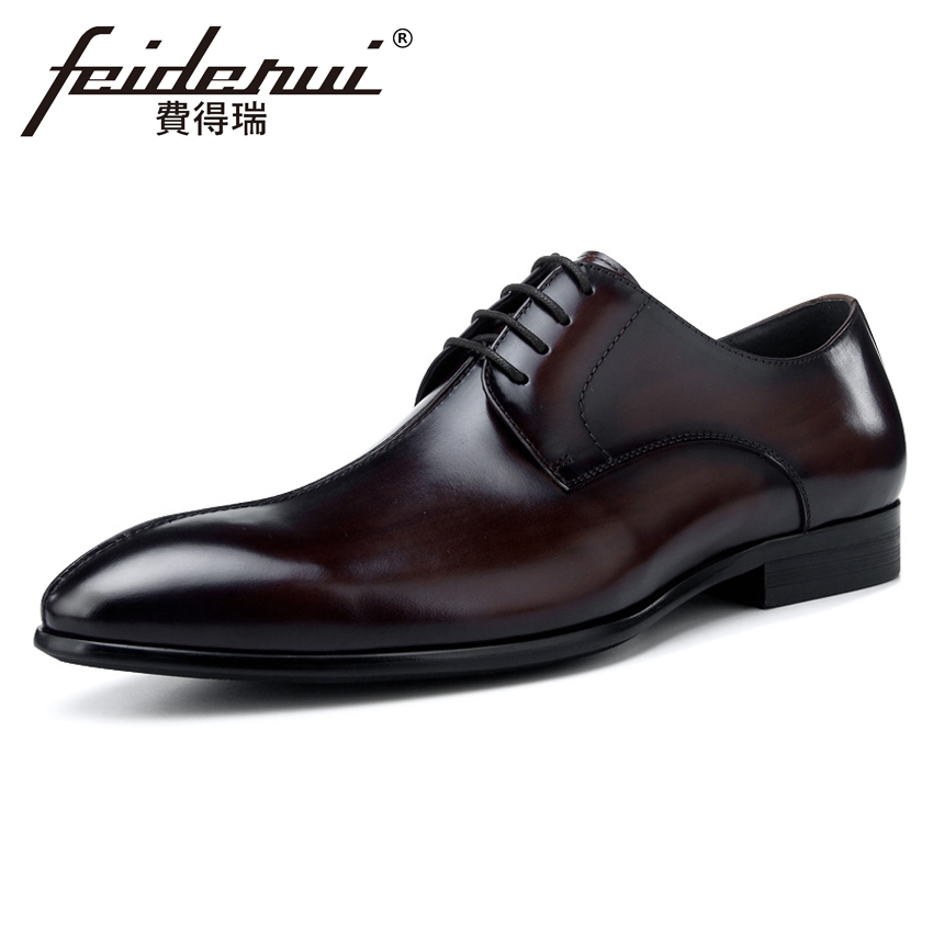 New Vintage Genuine Leather Men's Footwear Pointed Toe Man Wedding Party Italian Formal Dress Handmade Male Derby Shoes BQL56 new italian designer men s wedding party footwear genuine leather pointed toe lace up derby man luxury formal dress shoes ymx504