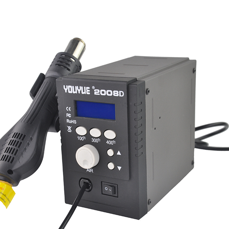 YOUYUE 858D+ AC 110V / 220V 700W SMD Rework Soldering Station Hot Air Gun Solder Iron With Free Gifts For Welding Repair dhl free shipping hot sale 220v hakko fx 888 fx888 888 solder soldering iron station with 10 free tips 900m t