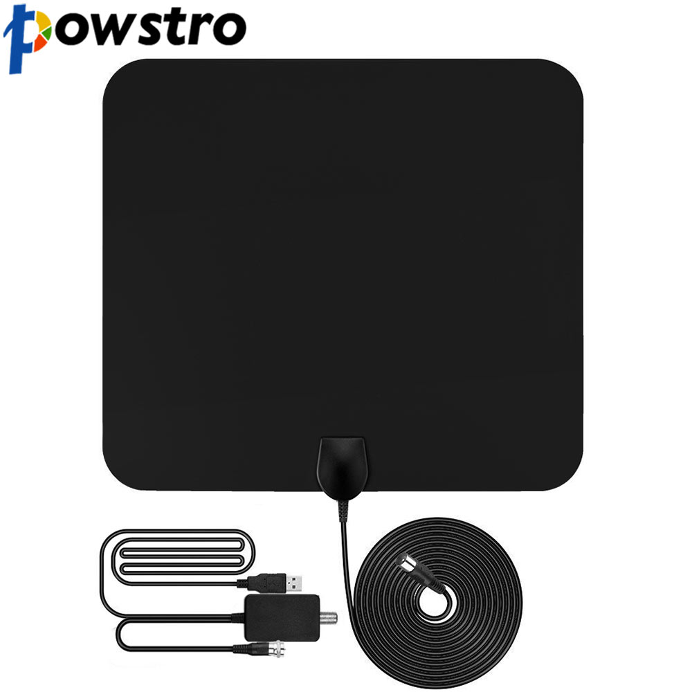 Flat HD TV Amplified Digital Indoor Antenna High Gain HDTV 50 Miles Range ATSC DVB ISDB with Detachable Signal Amplifier
