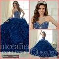 2016 new arrival azul royal fortemente beading flor babados vestido quinceanera sweet 16 princesa puffy quinceanera vestidos à venda