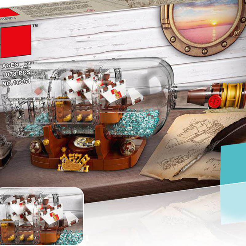 все цены на Lepin 16051 Ideas Ship in a Bottle Creative Pirates of the Caribbean Pirates Series 21313 Building Blocks Bricks Kits Funny Toy