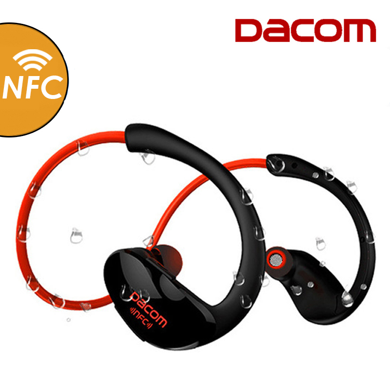 Dacom Athlete Bluetooth Headset Wireless Headphone BT4.1 Sports Stereo Earphone with HD Mic NFC auriculares for iPhone Samsung original dacom g18 sports bluetooth headset stereo auriculares wireless headphone running ear hook waterproof earphone with mic