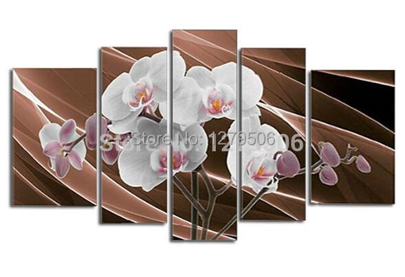 Hattie 100% ručně malovaná bílá orchidej abstraktní olejomalba na plátně Domácí dekorace 5 ks / sada obrázků pro Quadro Obývací pokoj
