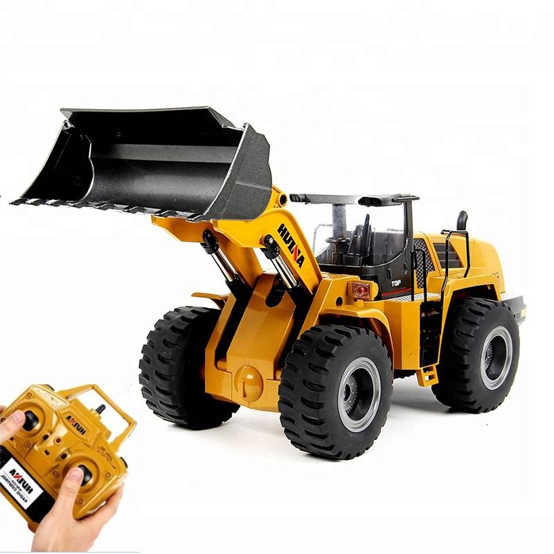 Huina 583 Metal Bulldozer Alloy Truck Remote Control Toys for Boys Autos Rc Hydraulic Off Road Construction Rc Toys Big RC Truck
