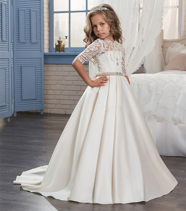все цены на New Ivory White Flower Girl Dresses O-neck Lace Pearls Ball Gown Solid Formal First Communion Gowns Custom Made Vestido Longo онлайн