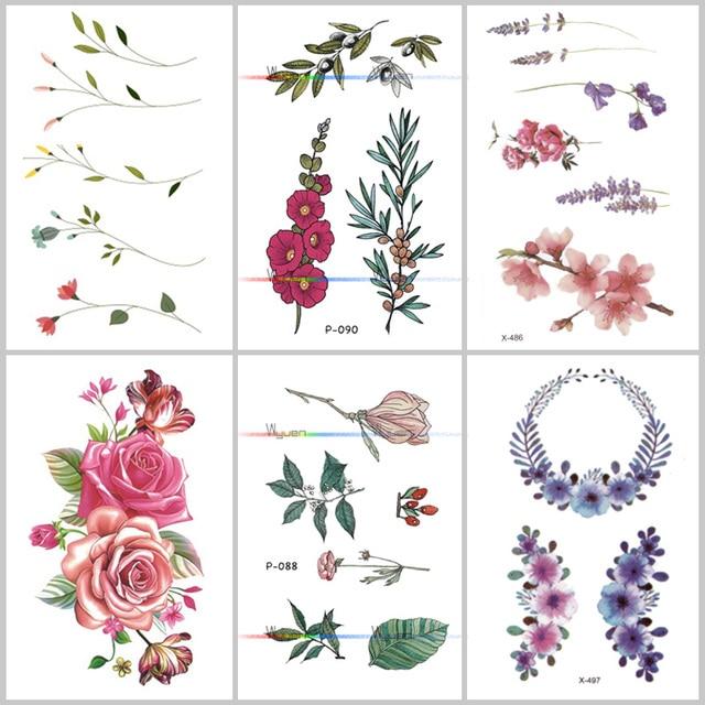 В Виде Цветка Роза Водонепроницаемая временная татуировка наклейка для взрослых дети тело искусство женщины новый дизайн переводная вода поддельные тату P-108