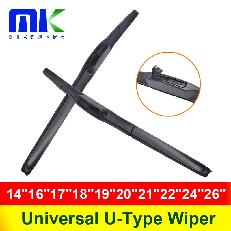 Универсальный U-Тип автомобиль стеклоочистителя 14 16 17 18 19 20 21 22 24 26 U Hook ветровое стекло силиконовая резина режим Hybrid Auto Стеклоочистител...