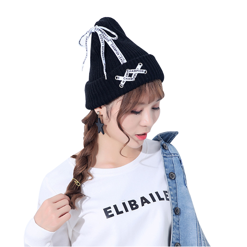 LASPERAL 2017 Winter Warm Skullies Beanies Hats Women Patchwork Lace Up Bow Caps Female Outdoor Kawaii Knitting Beanies skullies