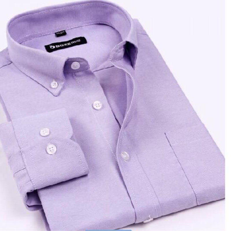 Men Long Sleeve Pure Cotton Oxford Casual Shirts Turn down Collar Solid Color Slim Fit England Style Shirts Chemise Camisa in Casual Shirts from Men 39 s Clothing