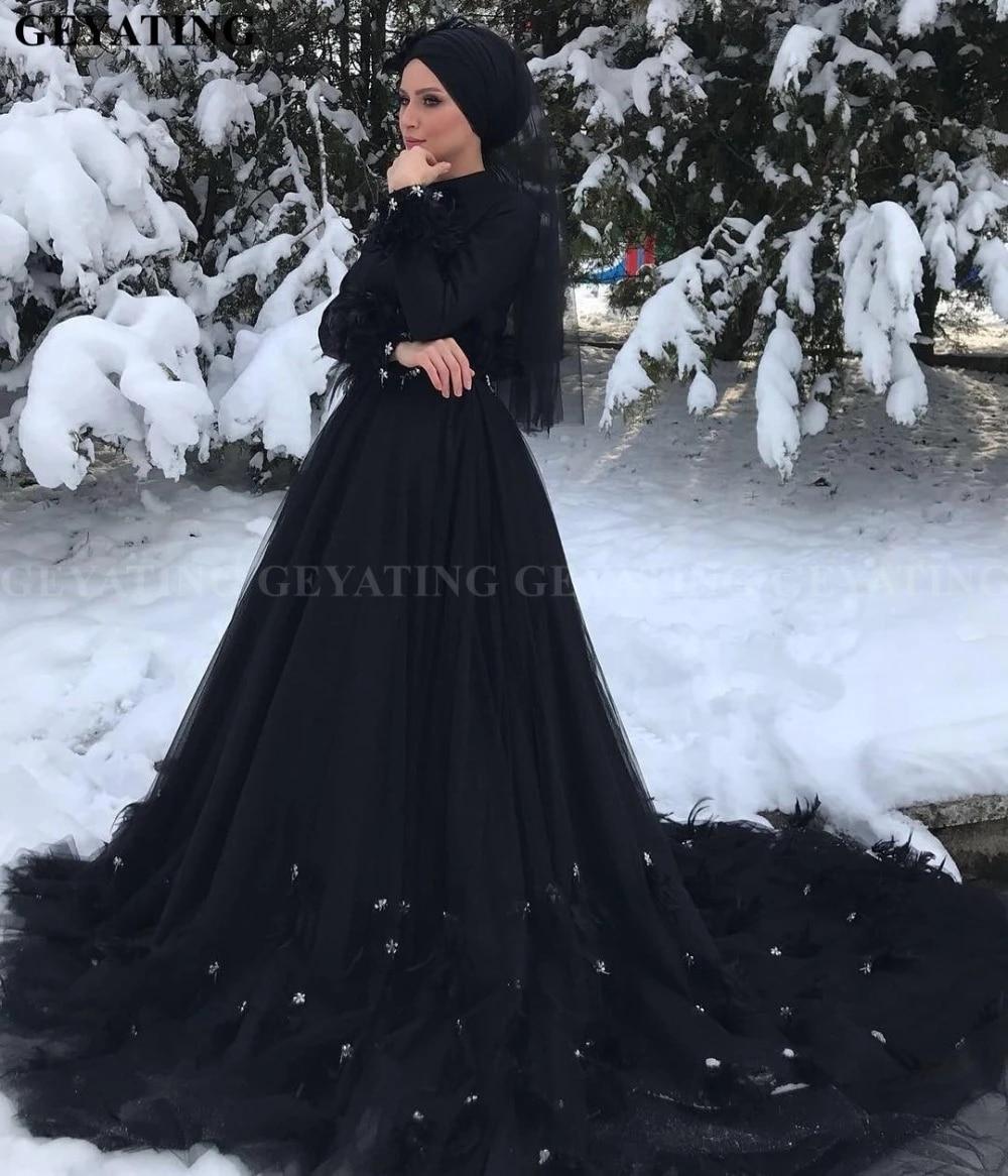 Gothic Black Long Sleeves Islamic Muslim Wedding Dress Hijab High Neck Crystal Feather Court Train Arabic Dubai Wedding Dresses Wedding Dresses Aliexpress
