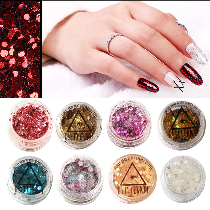 ELECOOL Fashion 15 Colors Glitter Loose Sequins Powder Nail Art Decoration Eyeshadow Face Body Stage Makeup Glitter GHMY