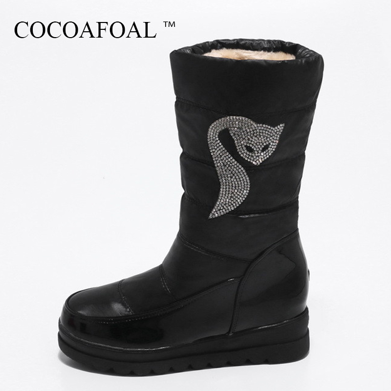 COCOAFOAL Women's Fashion Black Height Lncreasing Ankle Boots Winter Red Crystal Snow Boots Platform Plus Size 33 43 Snow Boots cocoafoal women s fashion black height lncreasing snow boots winter platform plus size snow boots green gray mid calf snow boots