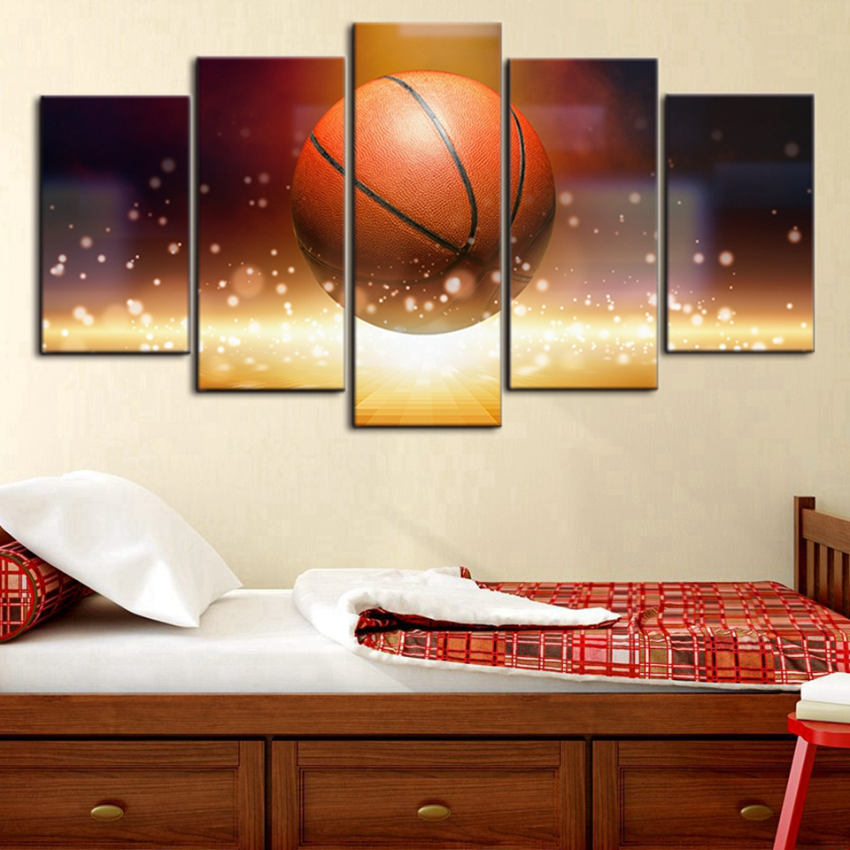 Canvas Wall Art Picture Frame Kitchen Restaurant Decor 5 Pieces Abstract Glowing Basketball Sports Living Room HD Printed Poster