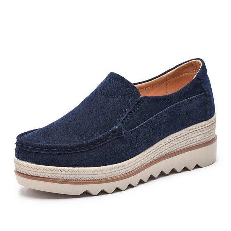 2018 Spring women flats shoes platform sneakers shoes   leather     suede   casual shoes slip on flats heels creepers moccasins 3088