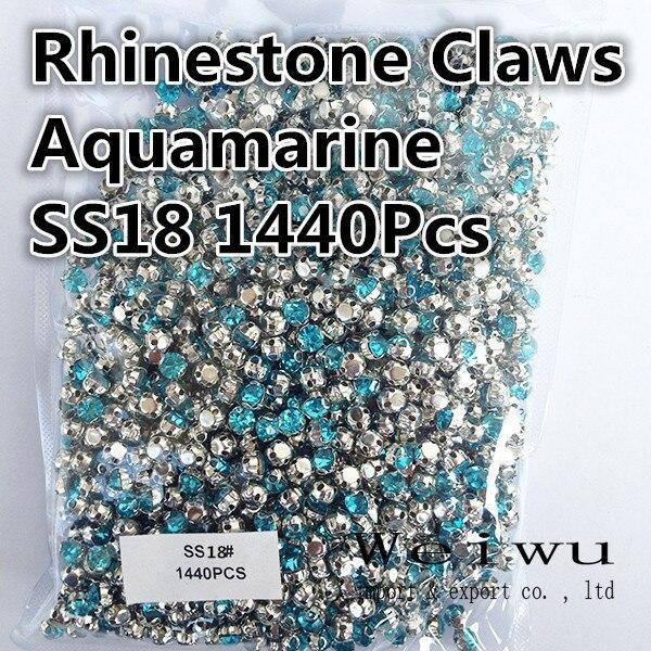 Garment Accessories SS18 4.3mm 1440Pcs Aquamarine Sew On AAA Glass Rhinestones Crystal Claw For Luxurious Wedding Dresses