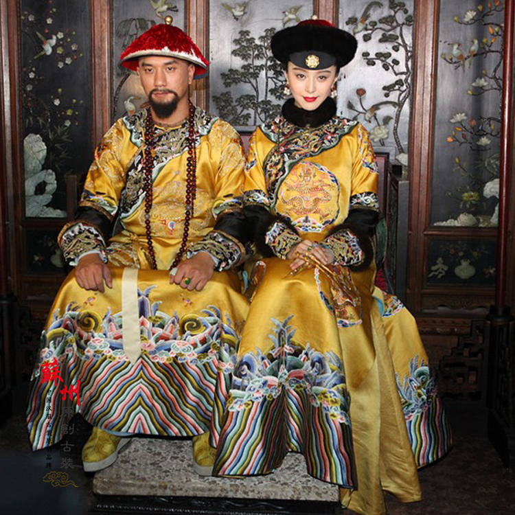 Qing Dynasty Emperor And Empress Yellow Dragon Costume Sets For Couple With Delicate Embroidery For Movie Lady In The Portrait
