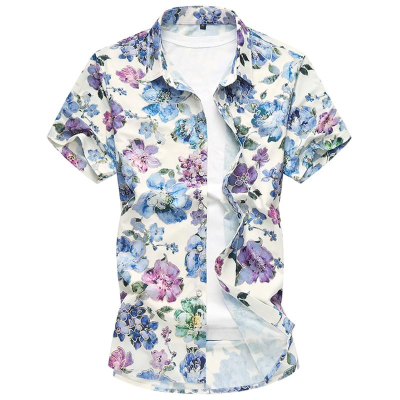 Plus 7XL 2018 Neue Blumendruck Hawaiian Freizeithemd Marke Bekleidung Kurzarm Shirt Mode Camisa Social Slim Masculina